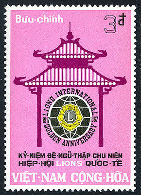 Viet Nam South 320, MNH. Lions International, 50th anniv. Pagoda, Emblem, 1967
