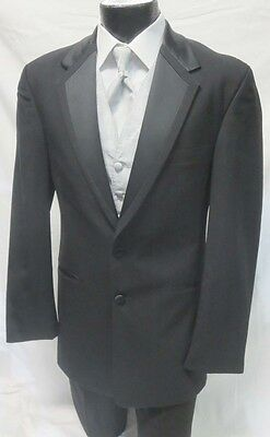 42S Perry Ellis Modern Tropical Wool Black Vail 2 Button Tuxedo Suit Package