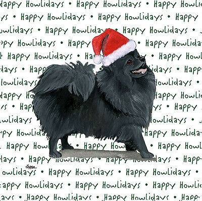 Pomeranian Dog Coasters Christmas Themed Black