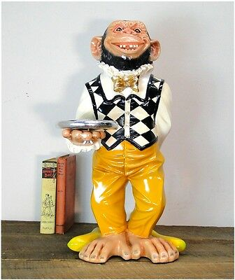 Monkey Butler Ape STATUE w Silver tray 2' Tall Suit Bow Tie Bar Kitchen