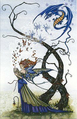 Amy Brown Fairy Faery Large Card Possibilities Wishes Blue Yellow Dragon