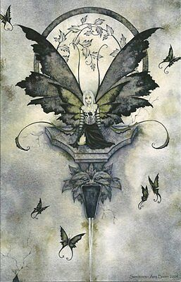 Amy Brown Fairy Faery Large Card Sanctuary Gargoyle Water Spout Garden Wall New