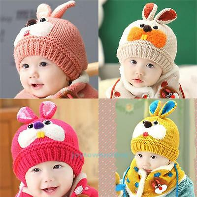 Cute Baby Toddler Girl Boy Winter Warm Hat Rabbit Beanie Hood Scarf Crochet Cap
