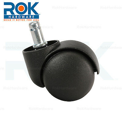 ROLLER OFFICE DESK CHAIR TWIN WHEEL FLOOR CASTER 11mm STEM REPLACEMENT BLACK