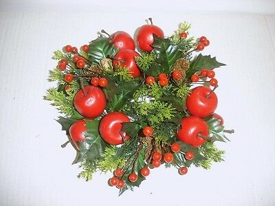 """New 3"""" Candle Ring Christmas Decoration 'Red Apple & Berry' Fits Pillar Candles"""