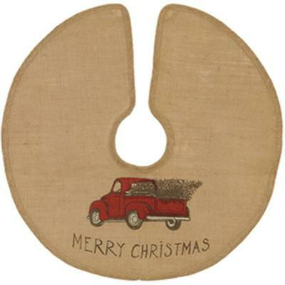 "Country House new 24"" round OLE RED TRUCK burlap christmas tree skirt / nice"