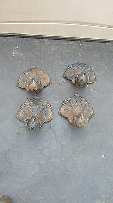 Vintage Set 4 Cast Iron Tub Feet Claw & Ball With Scroll
