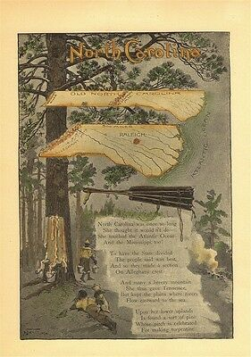 North Carolina 1896 Maps & Poem Pine Tree Turpentine Raleigh Reprint