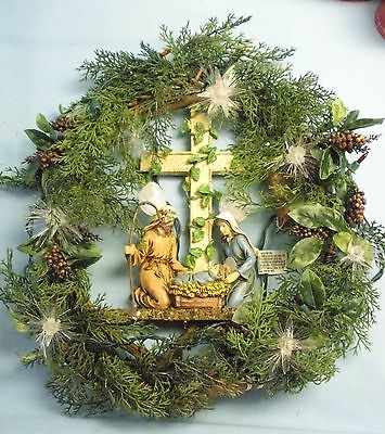 """Holy Family Nativity Wreath . Artificial . # 85040 . Lighted . 15"""" Dia"""