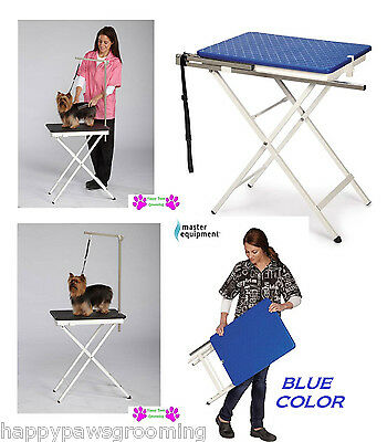 BLUE PORTABLE PET GROOMING TABLE TRAVEL Show Home Mobile Foldable-Adjustable Arm