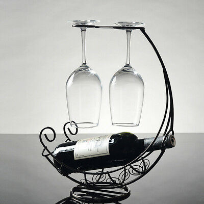 Metal Wine Bottle Storage Holder Champagne Rack Bar Stand Bracket Black #1