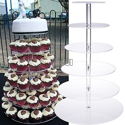 NEW 6 Tier Clear Acrylic Round Cake Cupcake Stand For Wedding Birthday Display