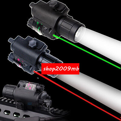 Hunting CREE LED Flashlight &Green / RED Laser Sight Combo Scope Picatinny Mount