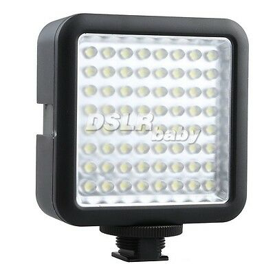 64 LED Video Light Lamp Licht Beleuchtung Hot Shoe Für Canon Nikon Sony Kamera