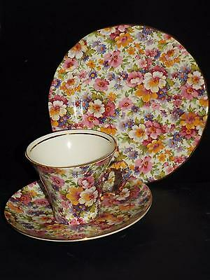 James Kent Du Barry Chintz Floral TRIO CUP SAUCER & PLATE 100 Years Anniversary.