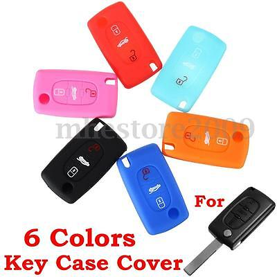 Silicone 3 Button Flip Key Case Holder Cover Fob For Peugeot 207 307 407 607 308