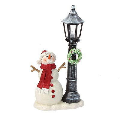 Hand Painted Snowman with Light Up Festive Lampost Christmas Decoration