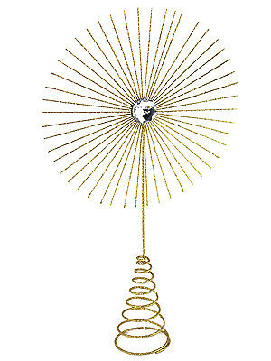 Gisela Graham Christmas Tree Topper Star Burst Large Gold Glitter Decoration