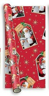 10m (2 x 5m) Traditional Christmas Gift Wrapping Paper - Red Santa Claus Labels