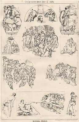Michaelangelo. Italy 1876 old antique vintage print picture