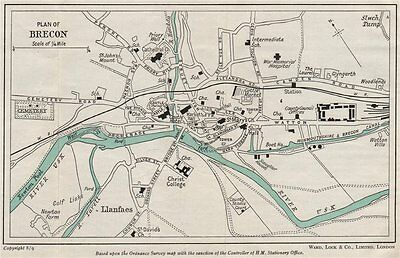 BRECON vintage town/city plan. Wales. WARD LOCK 1950 old vintage map chart