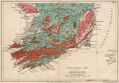 SOUTHERN IRELAND Geological map. STANFORD 1913 old antique plan chart