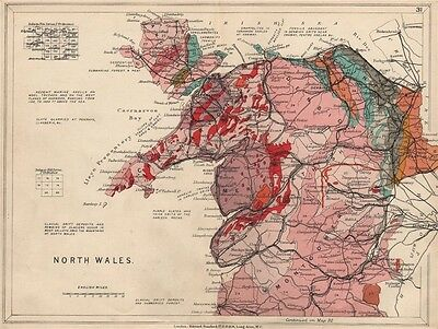 NORTH WALES Geological map. STANFORD 1913 old antique vintage plan chart
