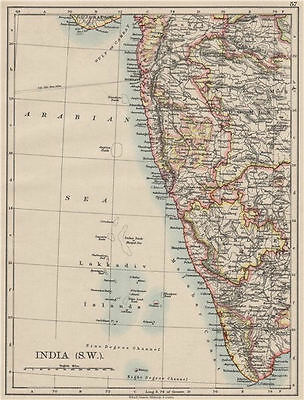 BRITISH INDIA SW.Bombay Mysore Malabar Coast Lakkadives.  JOHNSTON 1900 map