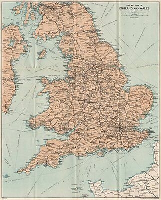 RAILWAY MAP OF ENGLAND & WALES. Vintage map plan. Great Britain 1957 old