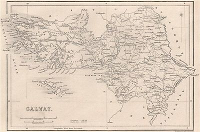 County Galway. Ireland 1835 old antique vintage map plan chart
