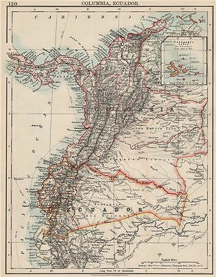 ANDEAN STATES. Colombia Ecuador Panama. States. South America. JOHNSTON 1903 map