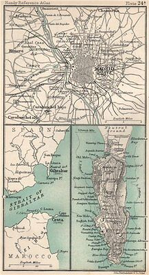 Environs of Madrid & Gibraltar. Spain. BARTHOLOMEW 1904 old antique map chart