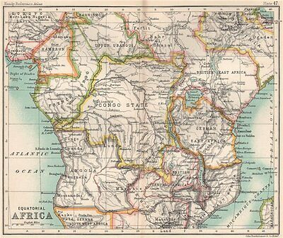 Colonial Equatorial Africa. Congo State. Kenya Tanzania. Central Africa 1904 map