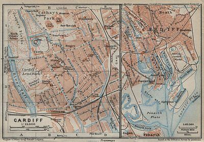 CARDIFF town city plan. St David's Centre Newtown Century Wharf. Wales 1927 map