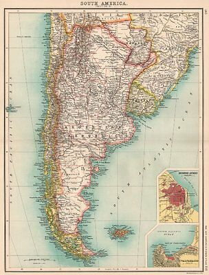 S AMERICA. Argentina Chile Uruguay Paraguay. Buenos Aires; Valparaiso 1901 map
