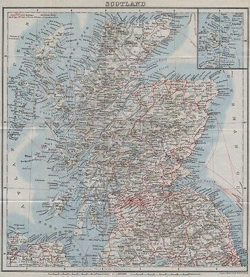 RAILWAY MAP OF SCOTLAND. Steamboat steamship routes. BAEDEKER 1927 old