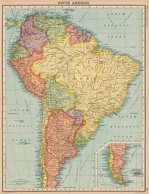 SOUTH AMERICA. Political. BARTHOLOMEW 1924 old vintage map plan chart