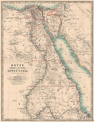 NILE VALLEY. Egypt, Arabia Petraea and Lower Nubia. Divisions. JOHNSTON 1906 map