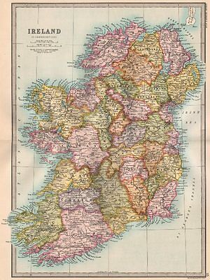 IRELAND. counties. BARTHOLOMEW 1890 old antique vintage map plan chart