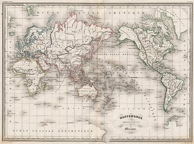 WORLD. Mappemonde suivant la Projection de Mercator. MALTE-BRUN c1846 old