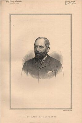 The Earl of Dartmouth 1888 old antique vintage print picture