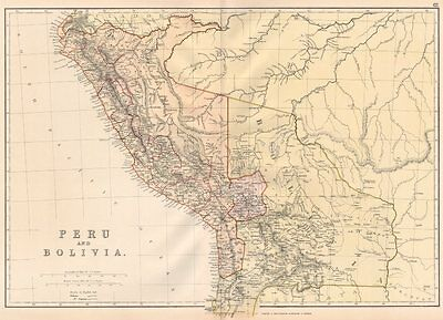 PERU & BOLIVIA W/LITORAL.   Pacific War borders.Planned La Paz railway 1882 map