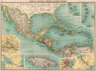 MEXICO CENTRAL AMERICA WEST INDIES. Panama & Proposed Nicaragua canal 1901 map