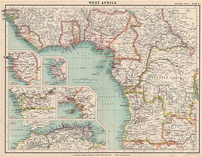WEST/EQUATORIAL AFRICA PROTESTANT MISSION STATIONS Maghreb Sierra Leone 1911 map