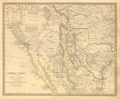 SOUTH WESTERN USA. Showing Republic of Texas & Mexican California. SDUK 1846 map