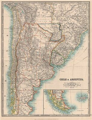 CHILE & ARGENTINA. Paraguay including Gran Chaco. Uruguay. JOHNSTON 1912 map