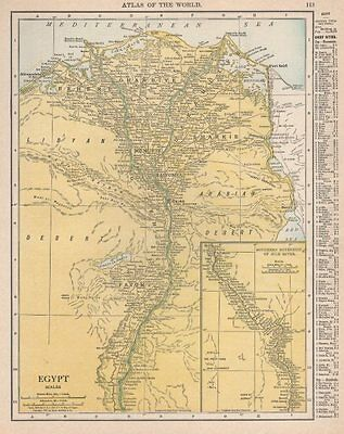 Egypt & Nile River valley. RAND MCNALLY 1912 old antique map plan chart