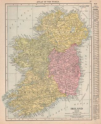 Ireland in provinces. Munster Leinster Connaught Ulster. RAND MCNALLY 1912 map