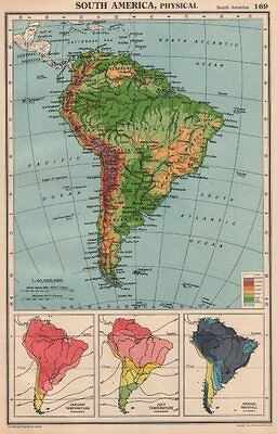 SOUTH AMERICA. Physical Temperature & Rainfall. BARTHOLOMEW 1944 old map
