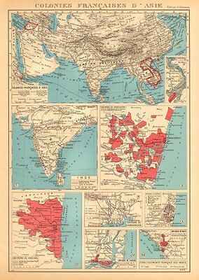 FRENCH INDIA Indes français Pondichéry Karikal Yanaon Chandernagor Mahé 1938 map